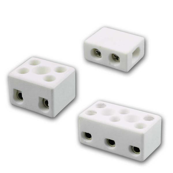 Porzellan Lüsterklemme 1/2/3-Fach, 2,5mm², 3 Typen