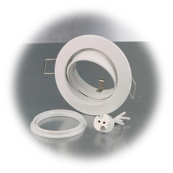 Deckeneinbaurahmen mit Clip-Ring Verschluss und Sockel GU5.3