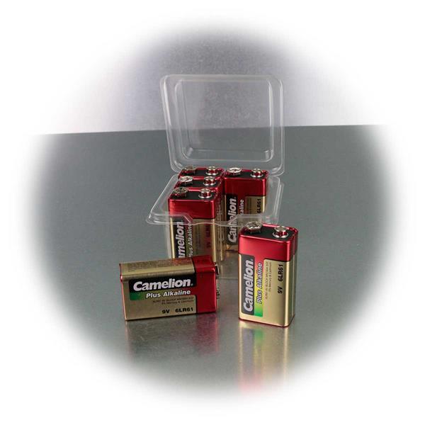 Alkaline-Batterie mit 9V Spannung in praktischer 6er Box