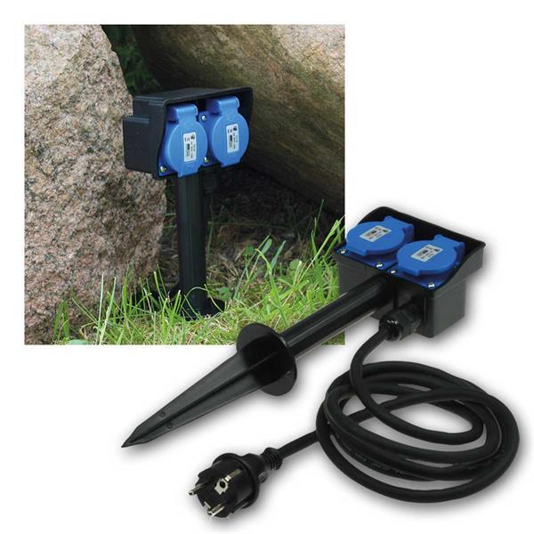 Gartensteckdose, 2-fach mit Erdspieß 250V/16A IP44
