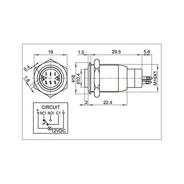 Edelstahl-Taster mit Schaltleistung 250V AC und max. 3A