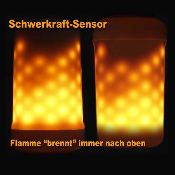 LED Glühbirne leuchtet auch Kopfüber wie eine Flamme