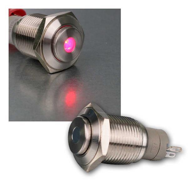 Metalltaster mit Punktbeleuchtung rot, 16mm