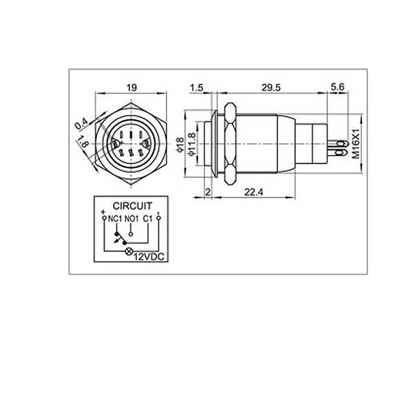 Anschlussplan für LED-Metalltaster