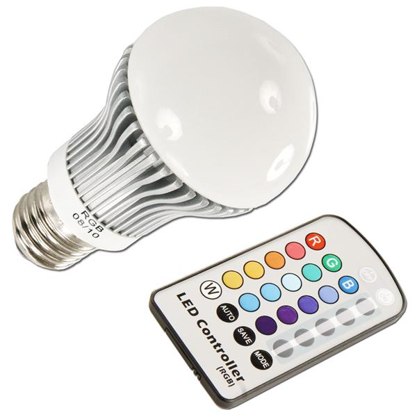 LED RGB Energiesparlampe E27 inklusive Fernbedienung mit Batterie