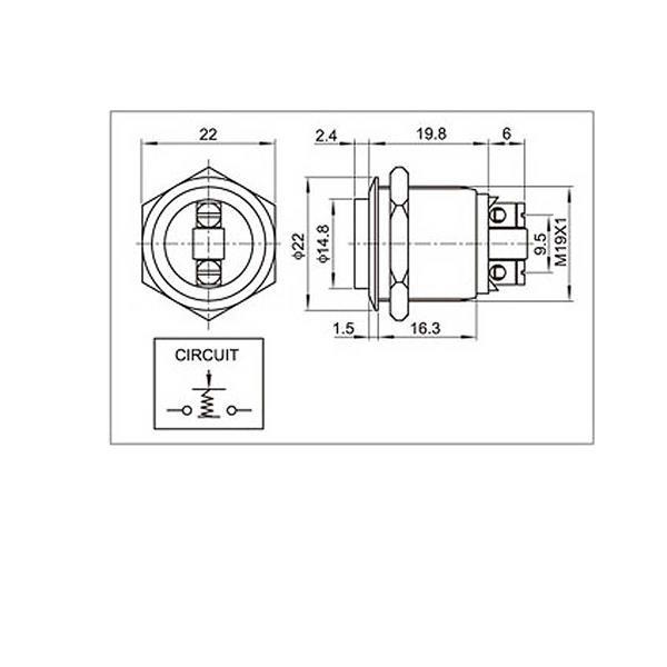 Technische Zeichnung zum 19mm Edelstahltaster