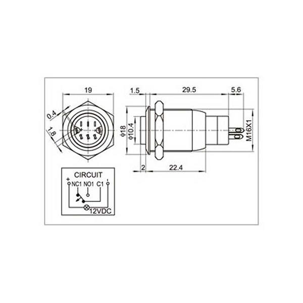 Edelstahlschalter mit Schaltleistung 250V AC und max. 3A