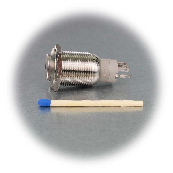 Vollmetallschalter mit  Ø16mm und Punktbeleuchtung in blau