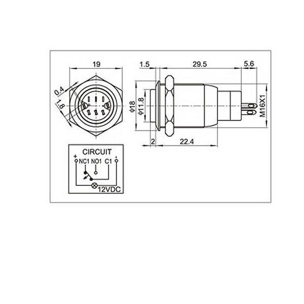 Maße zum Vollmetallschalter mit LED-Beleuchtung
