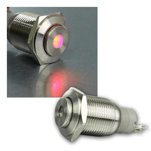 Metallschalter mit Punktbeleuchtung rot,  Ø16mm