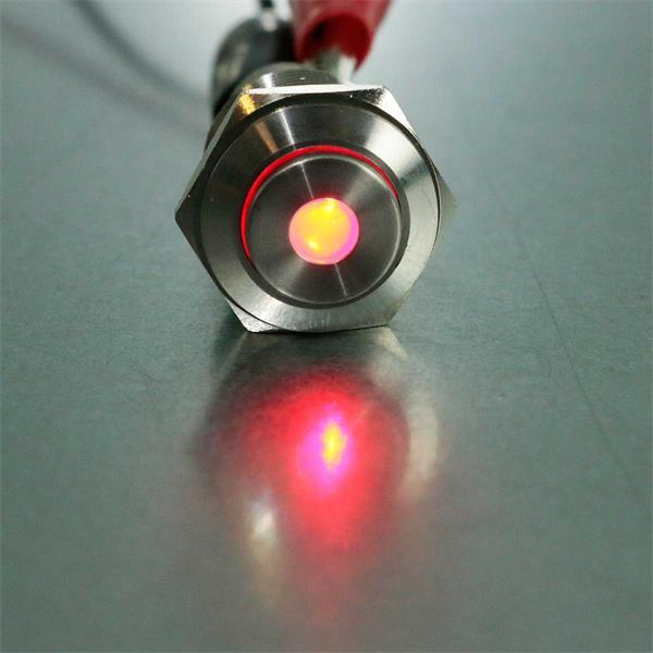Metallschalter mit roter LED Punktbeleuchtung