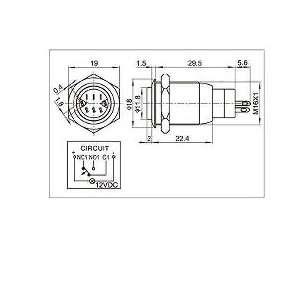 Technische Zeichnung zum Vollmetallschalter