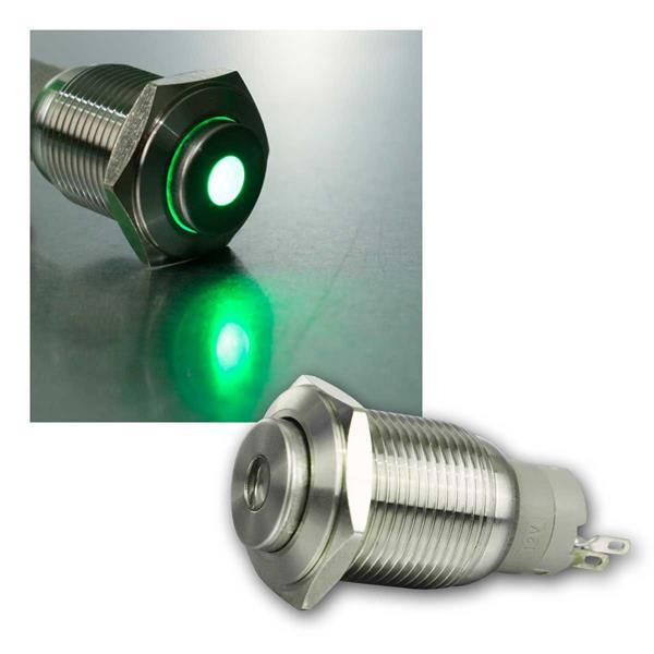 Metallschalter mit Punktbeleuchtung grün,  Ø16mm