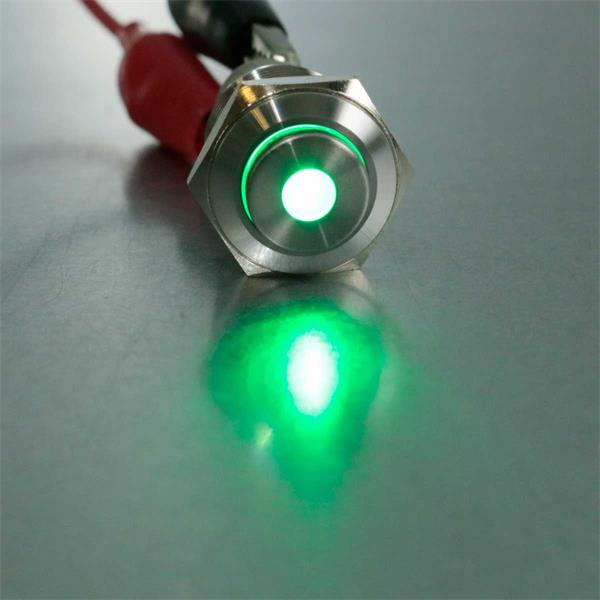 Vollmetallschalter mit grüner LED-Punktbeleuchtung grün