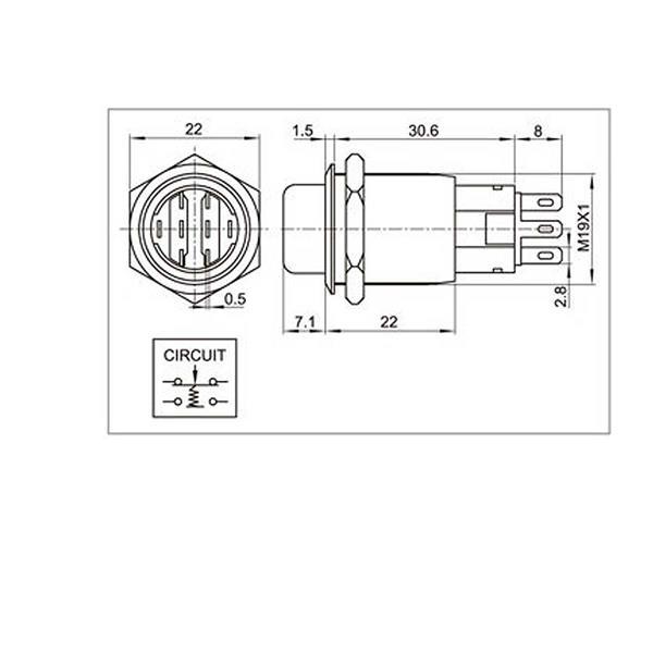 Technische Zeichung zum 2 Pol- Metalldrehschalter