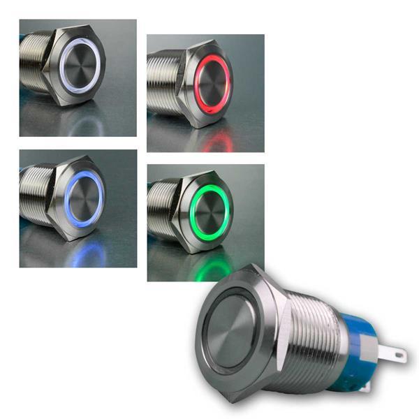 Metalltaster mit Ringbeleuchtung 19mm, 4 Farben