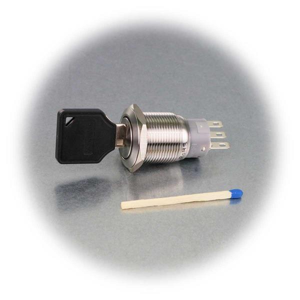 1- oder 2-poliger Schlüsselschalter mit Ø19mm und IP50