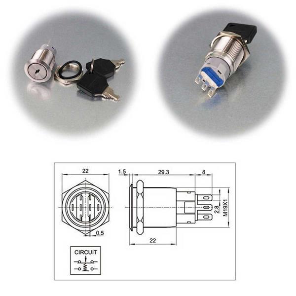Ø19mm Schlüsselschalter mit 1 oder 2 Polen