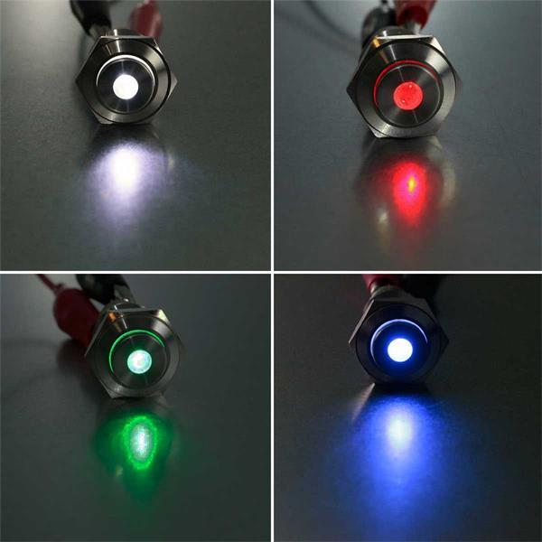 Vollmetallschalter mit Punktbeleuchtung in verschiedenen Farben