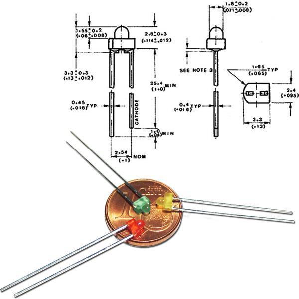 Abmessungen der 1,8mm diffusen LEDs