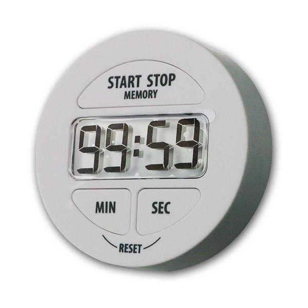 Digitaler Timer weiß mit Stoppuhr & Memoryfunktion