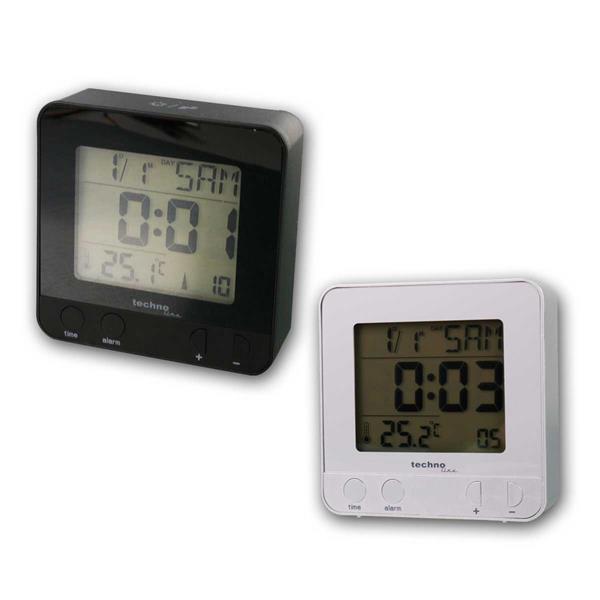 Funkwecker digital mit Thermometer, ws/sw, Snooze