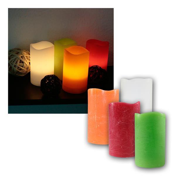 LED Echtwachs-Kerze, 12,5x7,5cm, flackernd, Timer