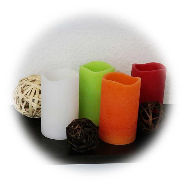 Echtwachs-Kerzen mit Timer in weiß, orange, rot oder grün