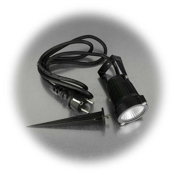 LED Gartenspot für Anschluss an 230V mit Schutzkontaktstecker