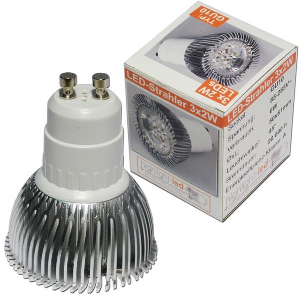 LED Glühbirne GU10 mit 3x Highpower 2W SMD LEDs in einem Aluminiumgehäuse