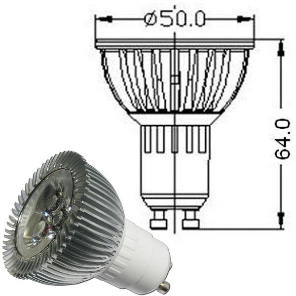 LED Leuchtmittel GU10 für 230V mit dem Maß 50x64mm (øxL) in ansprechender Optik