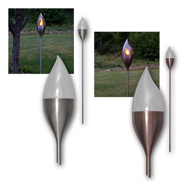 Solar LED Fackel OLYMPOS Edelstahl/Kupfer flackern