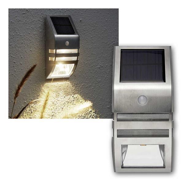 Solar LED Wandleuchte Wally Edelstahl PIR 50lm