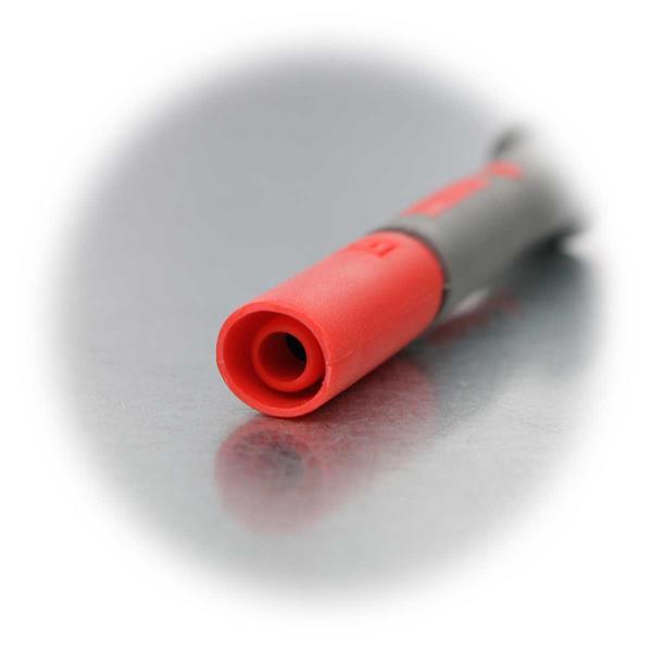 rot isolierte Prüfspitze mit 4mm Sicherheitskupplung für Messleitungen