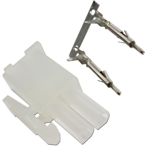 Stecker männlich aus weißem Kunststoff für lösbare Kabelverbindungen