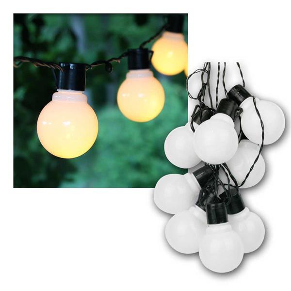 Party Lichterkette, 16 LED Glühbirnen opal, Kabel schwarz