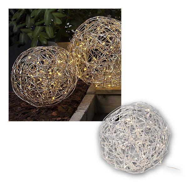 3D Kugel TRASSEL 30cm, Edelstahlgeflecht 50 LED ww