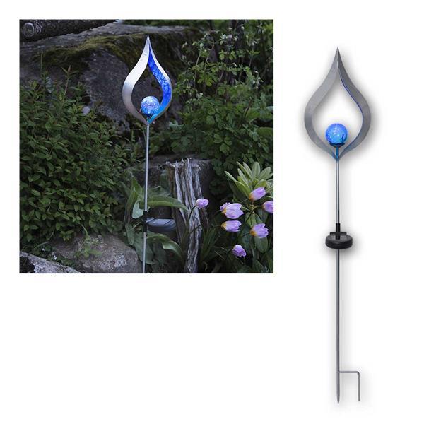 LED Solarstab Melilla, Flamme/Glaskugel, silber