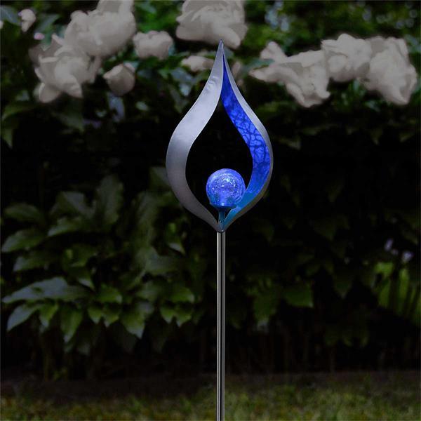 LED Solar Leuchte mit blauen Lichtschein im edlen Design