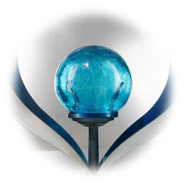 LED Dekoleuchte mit blauer Glaskugel in Bruchglas Optik