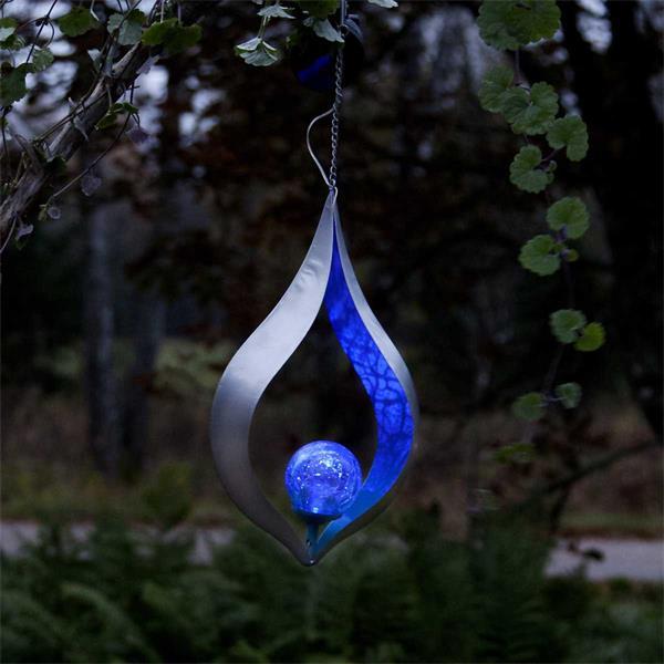 LED Solar Hängeleuchte mit blauen Lichtschein im edlen Design