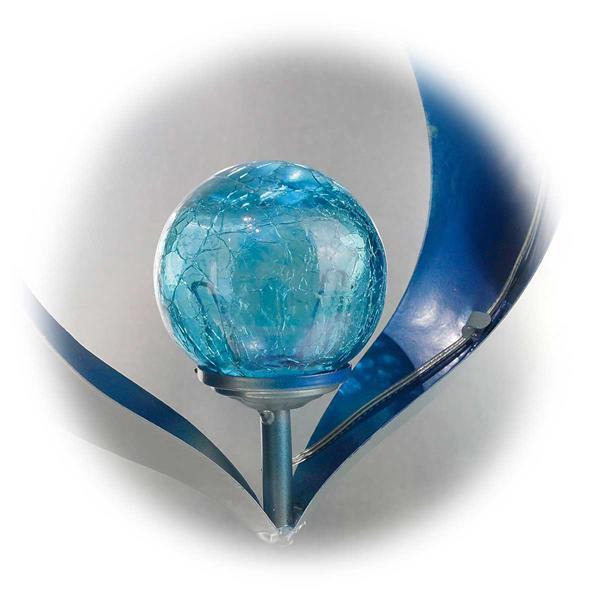 LED Dekoleuchte zum Aufhängen mit blauer Glaskugel in Bruchglas Optik
