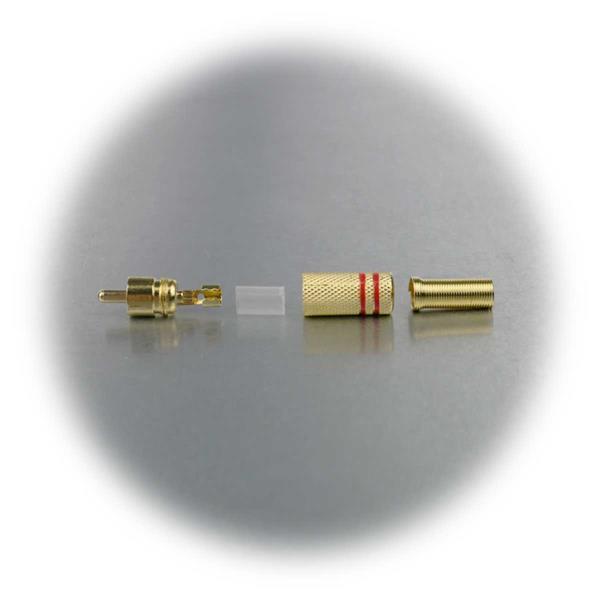 Cinchstecker mit Lötanschluss, Isolierhülse, für Kabel bis 7mm