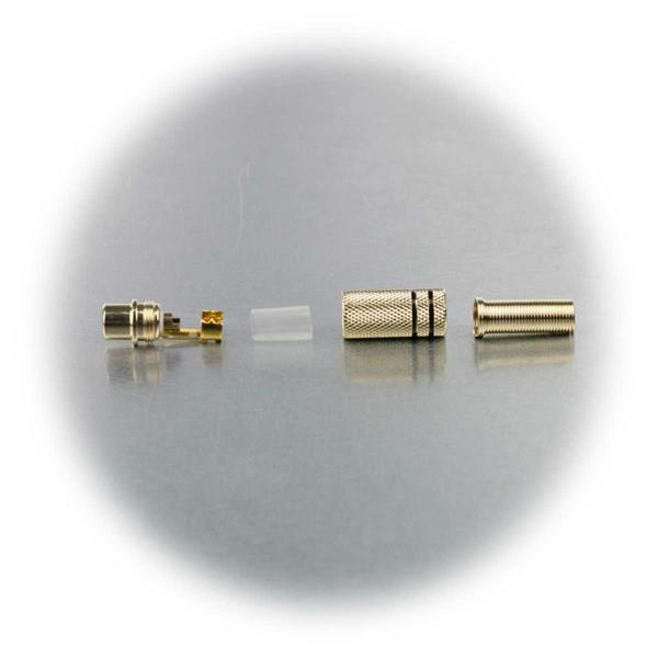 Cinchbuchse mit Lötanschluss, Isolierhülse, für Kabel bis 7mm