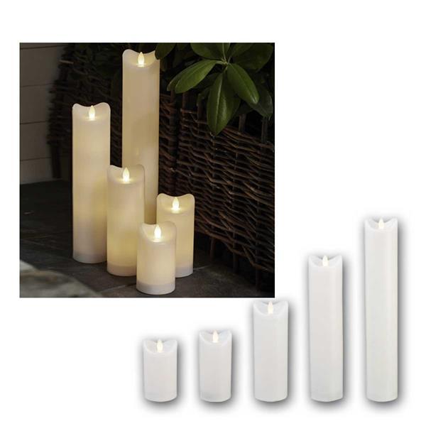 LED Kerzen BIANCO weiß mit Timer für Außen