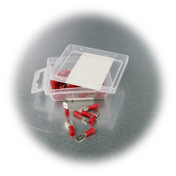 6,35mm Crimpstecker mit roter PVC-Isolation in praktischer Box