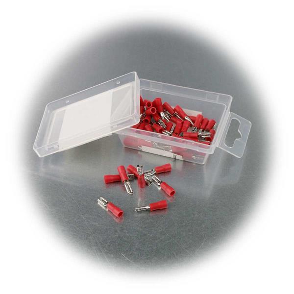 2,8mm Flachsteckhülsen mit roter PVC-Isolation in praktischer Box