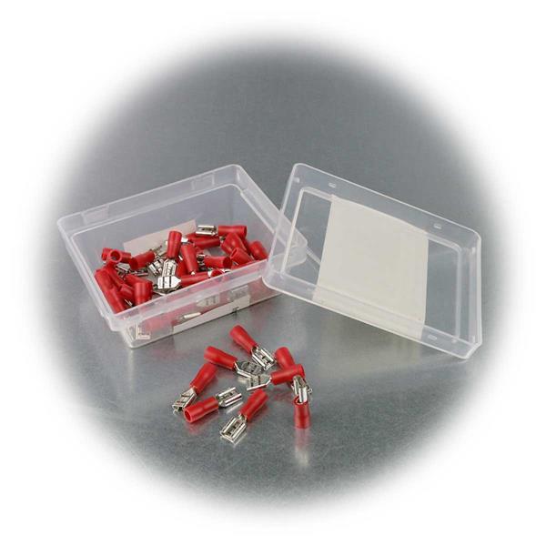 4,75mm Flachsteckhülsen mit roter PVC-Isolation in praktischer Box
