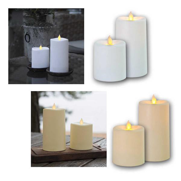 LED Kerze Outdoor GLIM, weiß/creme, bewegliche Flamme
