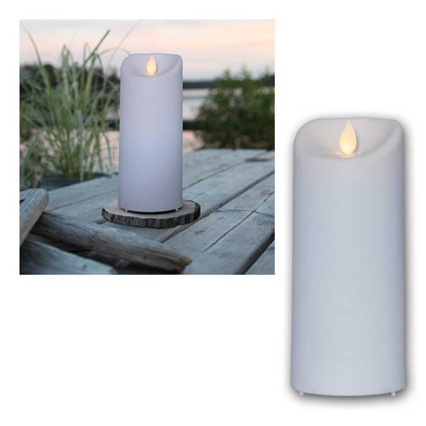 LED Außen-Kerze M-TWINKLE, 17,5cm weiß, mit Timer